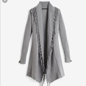 WHBM gray fringe open coverup long cardigan